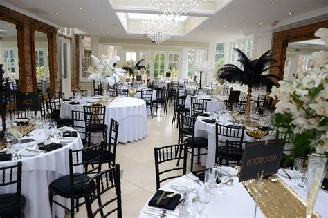 A 1920s Great Gatsby themed reception in the Orangery at
