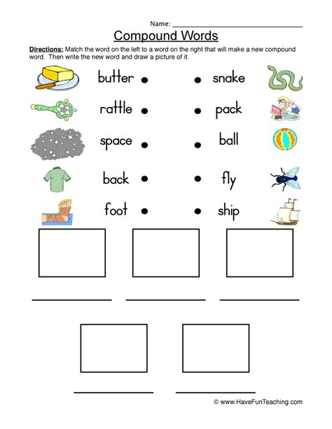 compound words worksheets teaching