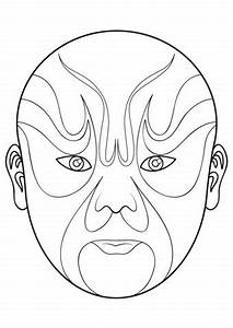 Chinese opera mask 5 coloring page from masks category for Kabuki mask template