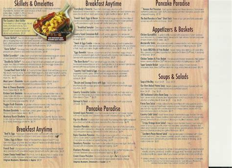 menu front picture  country kitchen sault ste