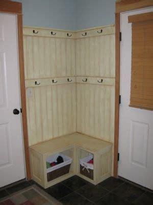 corner fix   small mudroom built  bench  basket