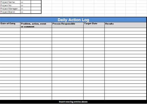 daily log log template log templates
