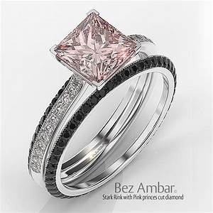 Stark diamond engagement ring with pink princess center for Princess cut pink diamond wedding rings