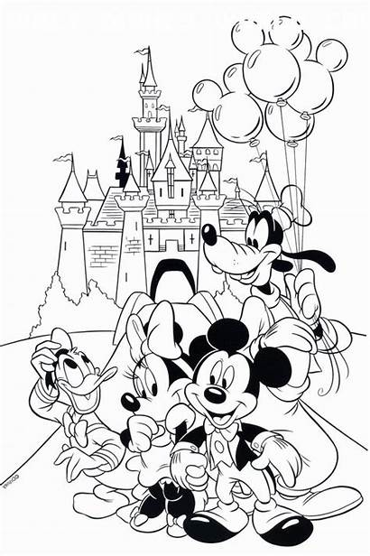 Coloring Disney Mickey Mouse Printable Cartoon Kingdom