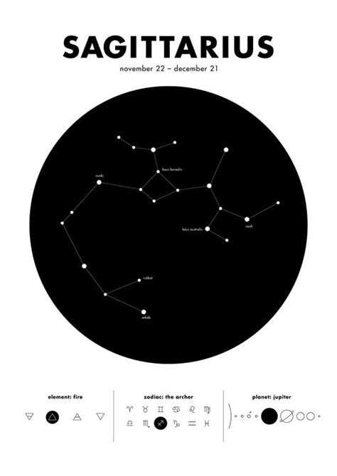 Sagittarius – Star Constellation Art Print   Art & Design   Tatuering inspiration, Skytten och