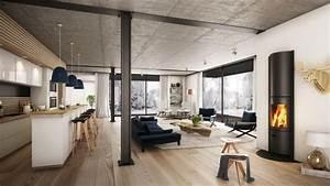 Wintergarten Einrichtung Modern : offener wohnraum modern eingerichtet mit kamin ~ Michelbontemps.com Haus und Dekorationen
