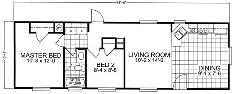 16 X 48 2 Bed 1 Bath 744 Sq. Ft. Floorplan