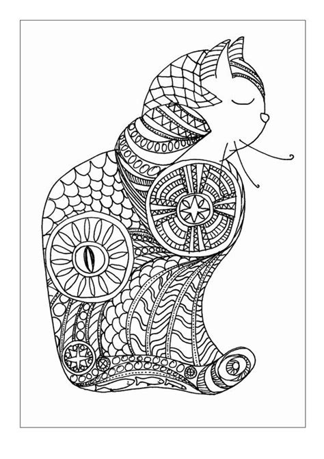 zentangle cat colouring page by zrsouthcombe adult