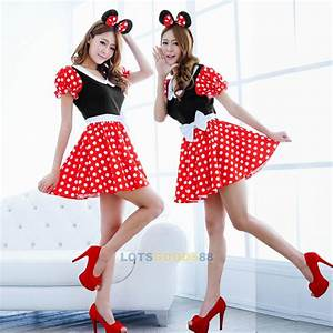 Adult Women Milk Maid Minnie Mouse Costume Halloween Fashion Outfit Fancy Dress | eBay