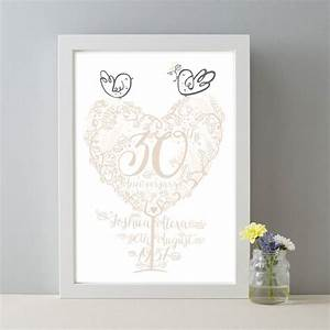 personalised 30th anniversary gift pearl wedding print by With gift for 30th wedding anniversary
