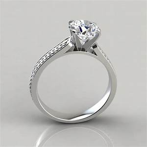 Vintage style engraved solitaire engagement ring for Wedding rings to go with solitaire engagement ring