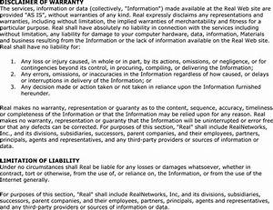 Selection From The Real Networks  U0026quot  Legal Notice