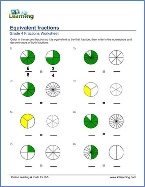 grade  fractions worksheets coloring  equivalent