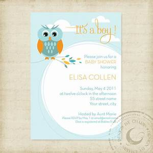 Baby Shower Invitation Template Owl Theme Boy or Girl