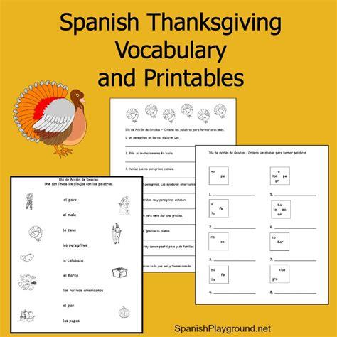 spanish thanksgiving vocabulary list and printable activities spanish playground