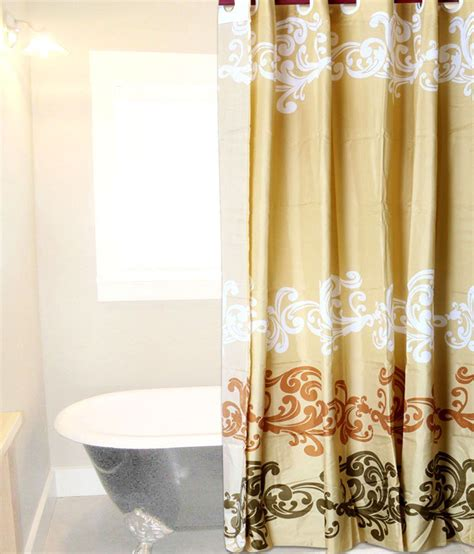 skap gold and brown polyester hookless shower curtain