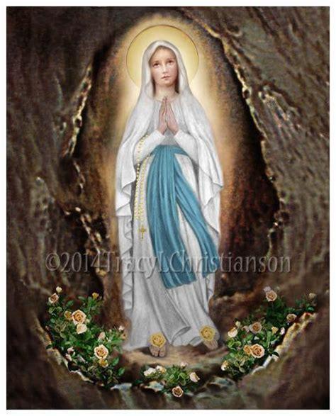 lady  lourdes print portraits  saints