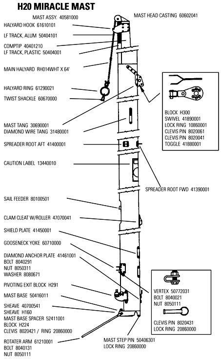 Parts Of A Catamaran Boat by Hobie 20 Mast Parts Mariner Sails
