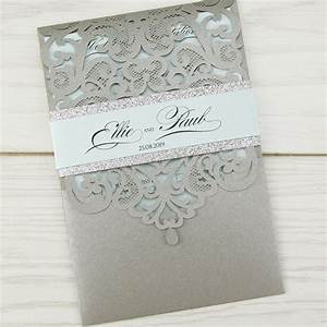 josephine with personalised glitter band pure invitation With josephine laser cut wedding invitations