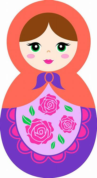 Doll Clipart Matryoshka Clip Russian Purple Orange