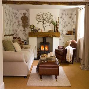 Living room with woodland wallpaper