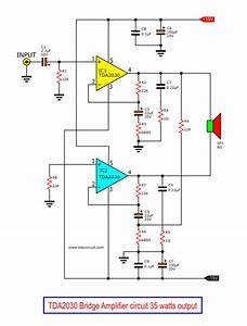Tda2030 Bridge Amplifier Circuit Diagram With Pcb  35w Rms