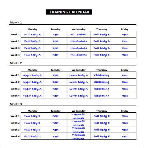 workout plan template pdf workout calendar template excel eoua