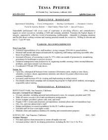 resume sles for executive assistant jobs executive assistant resume free sle resumes