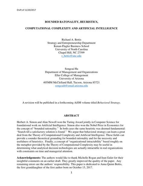 (PDF) Bounded Rationality, Heuristics, Computational