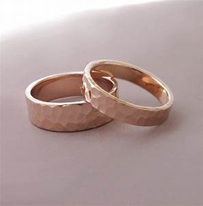 14k rose gold wedding rings hammered recycled gold 4 and 6 With rosegold wedding rings