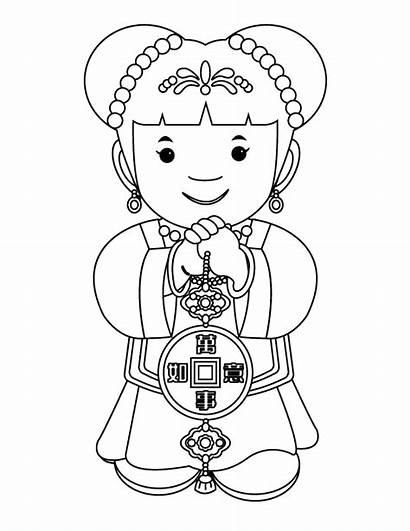 Chinese Coloring Pages Crafts Lantern Decorations Drawing