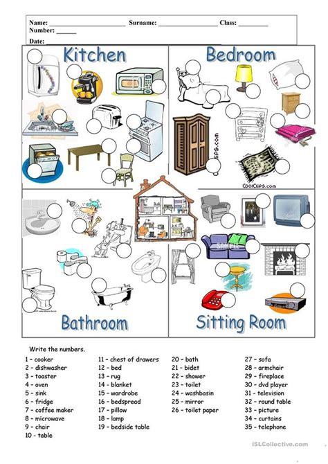 rooms  furniture worksheet  esl printable