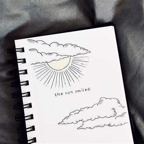 bullet journal quote page sun  clouds drawing