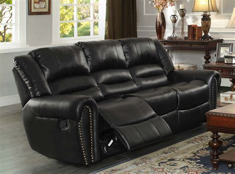 black leather sectional sofa with recliner homelegance center hill reclining sofa set black bonded