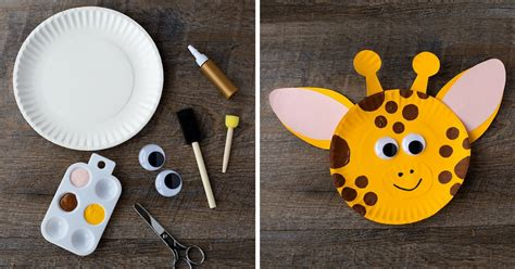 paper plate giraffe craft
