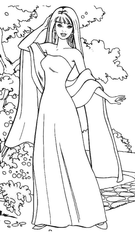 barbie doll wear gown  scarf coloring page barbie