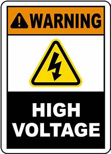 Warning high voltage label e3444l by safetysigncom for High voltage warning label requirements