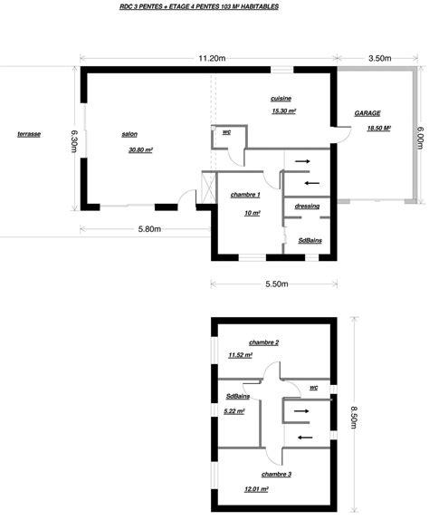 plan maison 3 chambres 1 bureau plan maison plain pied 3 chambres 1 bureau 15 plans de