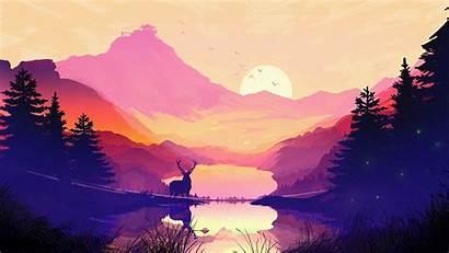 Wallpapers Deer Painting 1366 768 Landscape Nature