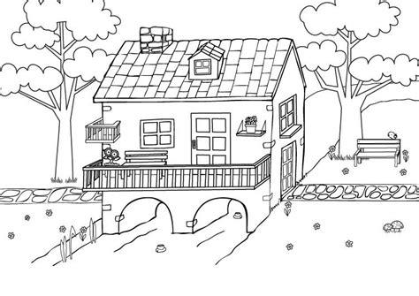 Moderne Häuser Zum Ausmalen by Ausmalbild Menschen Und Ihr Zuhause Haus Am Bach Zum
