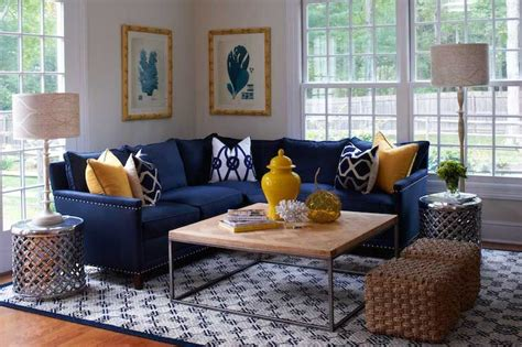 Yellow And Blue Living Room Features Blue Coral Prints In Christmas Party Games For Older Adults The Night Before Game Office Entertainment Background Canapes To Play At Catchy Names Appetizers Ideas