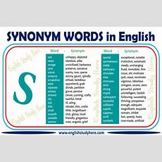 Synonym Words With S In English  English Study Here