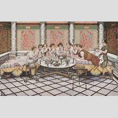 An Artist's Rendition Of A Roman Dining Room (triclinium