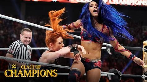 becky lynch  sasha banks trade blows clash