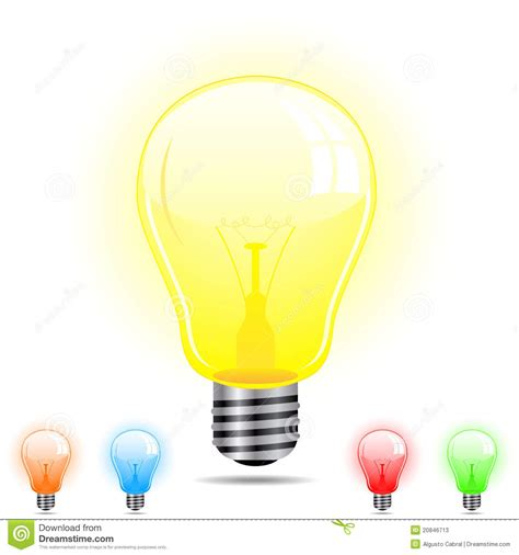 different color lights light bulb in 5 different colors stock photos image