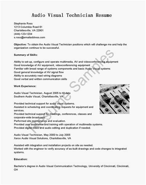 resume sles audio visual technician resume sle