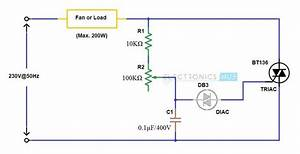 Simple Fan Regulator Circuit Using Triac And Diac