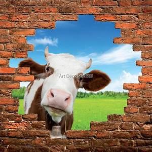 Tete De Vache Deco : sticker mural trompe l il mur de pierre t te de vache stickers muraux deco ~ Melissatoandfro.com Idées de Décoration