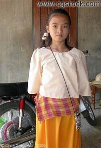 Stock photo - Young Girl in Traditional Dress Ilocos Norte the Philippines