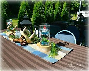Dining Delight Hunting Fishing Themed Centerpiece